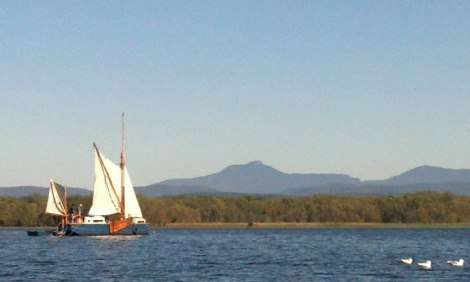 Ceres makes her way across Hawkins Bay with Camel's Hump in the background.