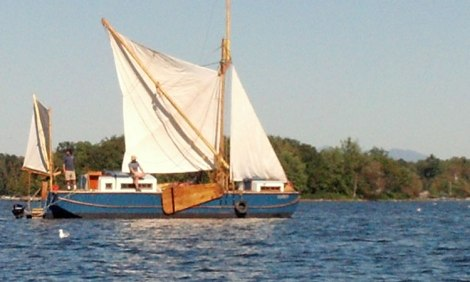The Vermont Sail Freight Project boat Ceres rides a light breeze on Lake Champlain.